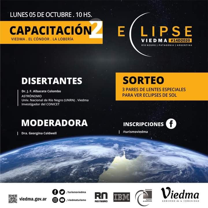 Viedma: Lanzan una capacitación virtual por el Eclipse 2020
