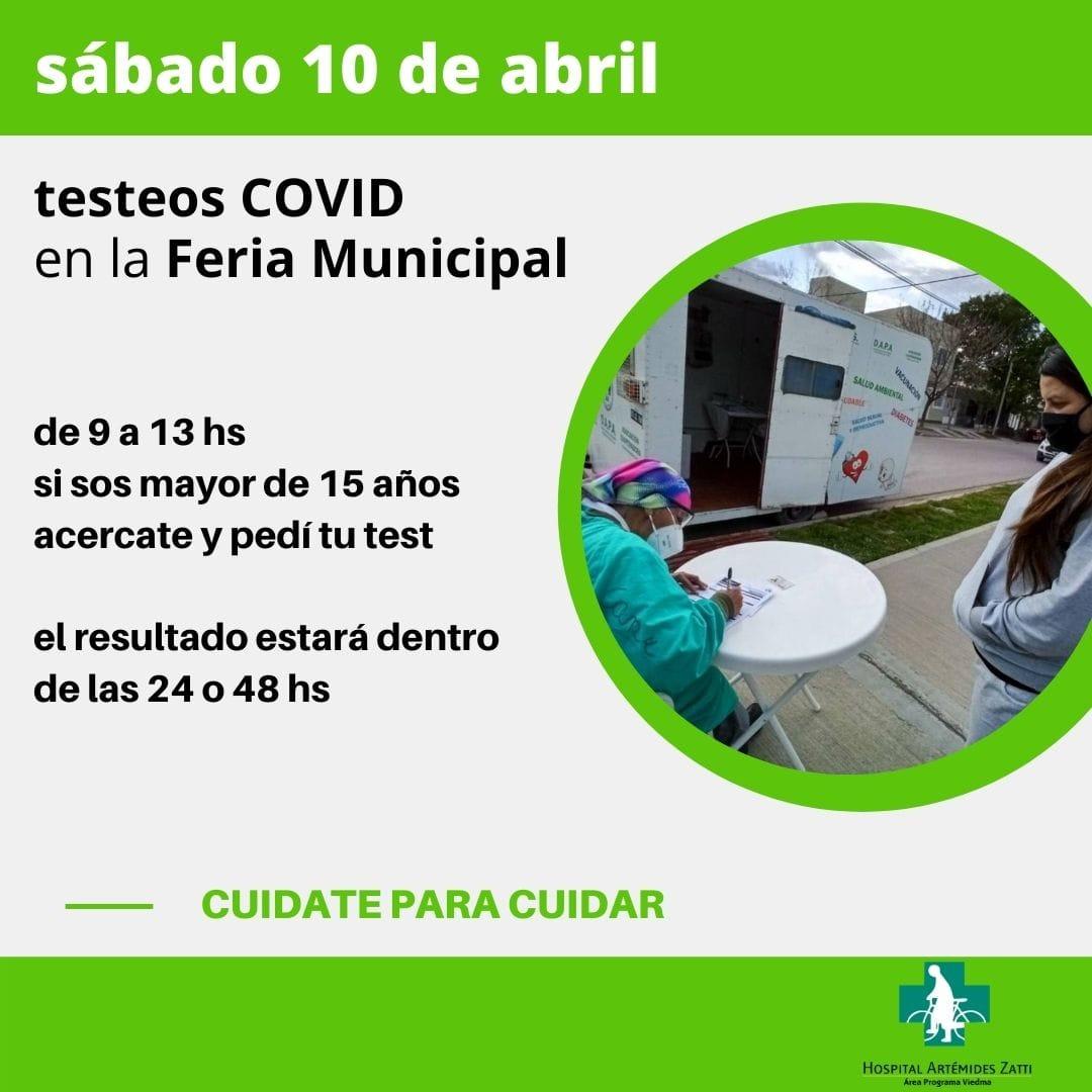 Covid-19: Este sábado harán testeos en la feria de productores de Viedma